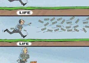 Humour décrivant la course à l'argent